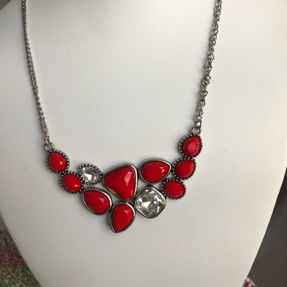 Paparazzi Red and White Rhinestone Necklace
